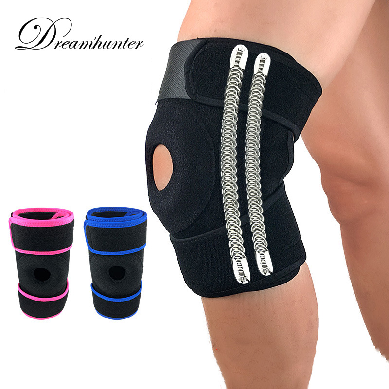 Professional sports Knee brace spring support Patellar legguards Outdoor basketball football riding Elastic pads gear 2 colors