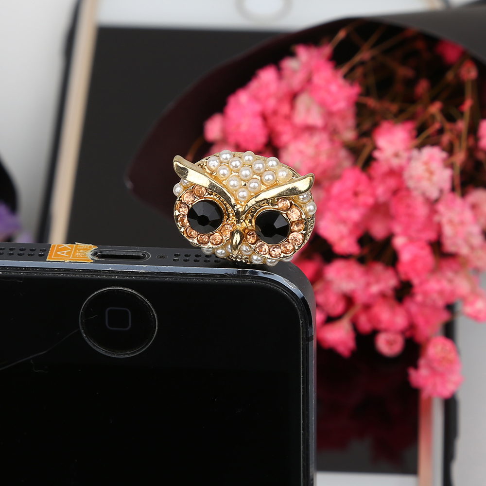 CatXaa Jewel Owl 3.5mm Dust Plug Cap Cell for iPhone Samsung