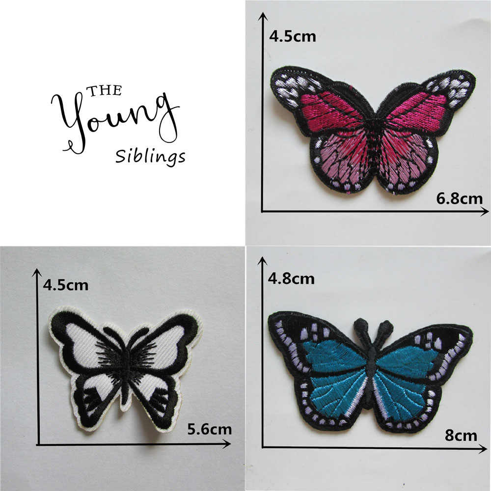 hot sell high quality butterfly 2016 year fashion style hot melt adhesive applique embroidery patches stripes DIY C2170-C5043