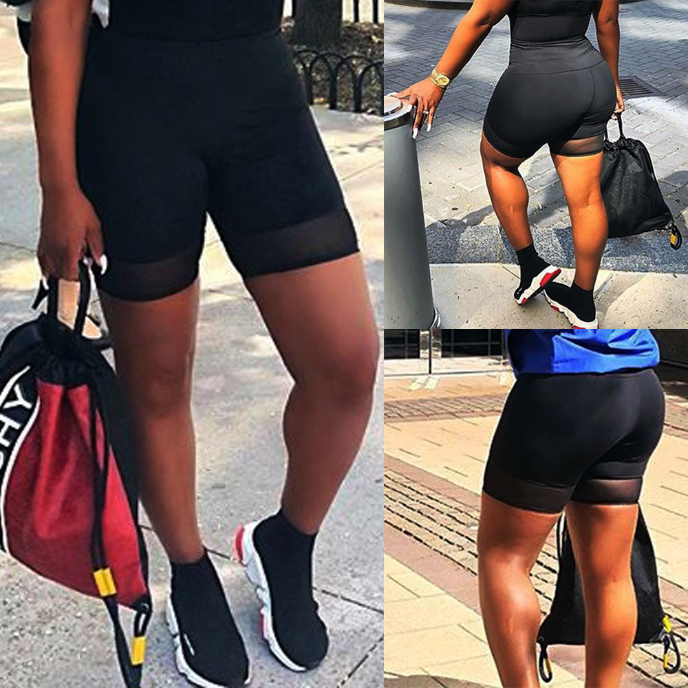 3XL Women fashion Plus Size High Elasticity Spliced Grenadine   Shorts   Gym Active trouser Sportwear black ropa verano mujer