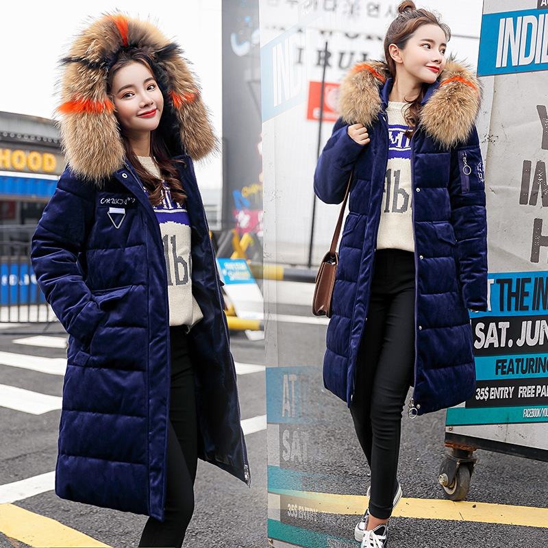Moda color oro terciopelo tela mujer invierno ropa gruesa suelta algodón largo sección Cuello de piel Chaqueta de algodón abrigo - 3