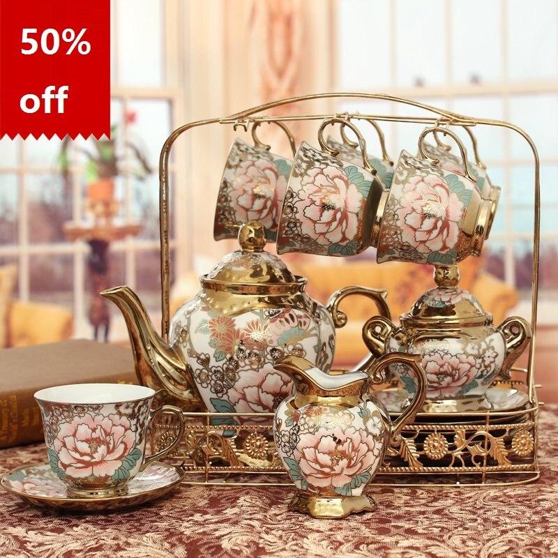 Керамические кофейные горшки костяного фарфора набор кофейных чашек модный чайный набор для домашних свадебных подарков