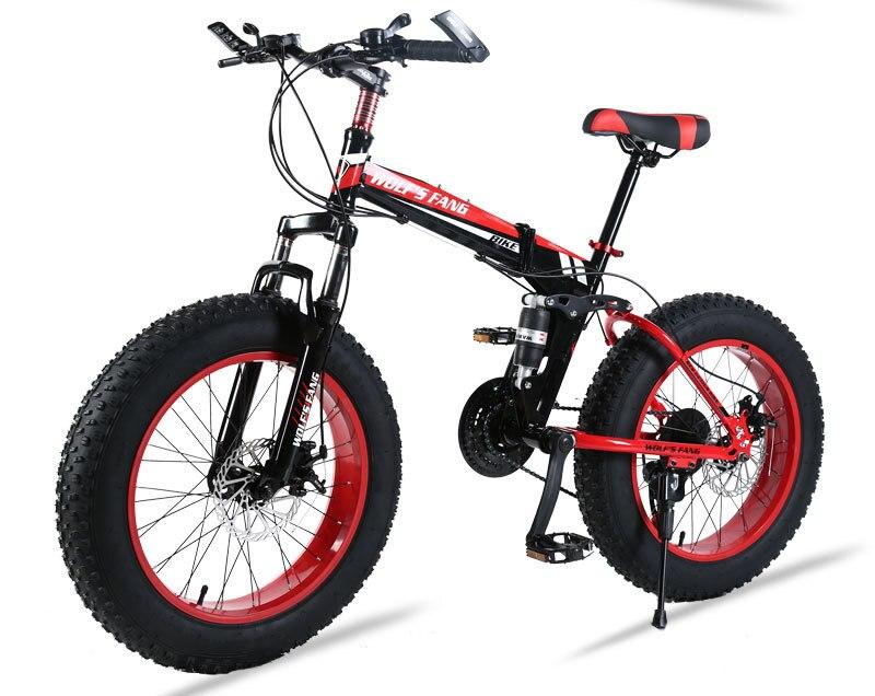 "HTB1Odchbhz1gK0jSZSgq6yvwpXa7 wolf's fang Mountain Bike 20""x 4.0 Folding Bicycle 21 speed road bike fat bike variable speed bike Mechanical Disc Brake"