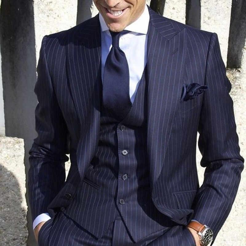 2019 メンズスーツとパンツストライプ男性のブレザースリムフィットウェディング男性新郎タキシードスーツウエディング (ジャケット + パンツ + ベスト) 衣装オム
