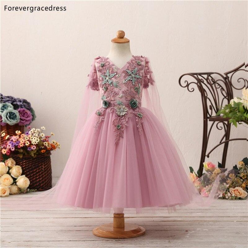 Forevergracedress Pink Flower Girls Dresses 2019 Ball Gown V Neck Sleeveless Lace Up Back Kids Pageant Children Gowns