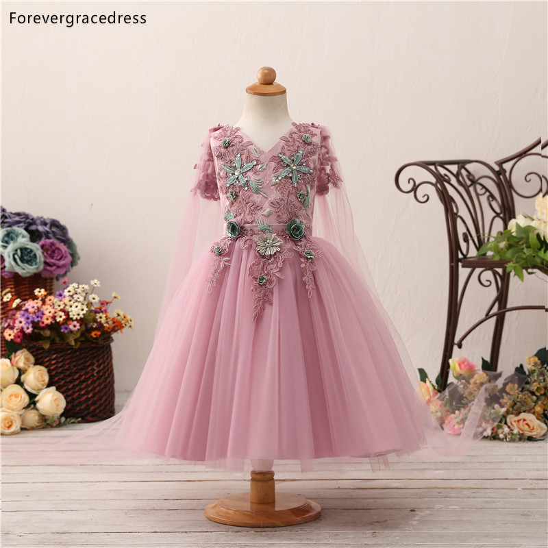Forevergracedress Pink   Flower     Girls     Dresses   2019 Ball Gown V Neck Sleeveless Lace Up Back Kids Pageant Children Gowns