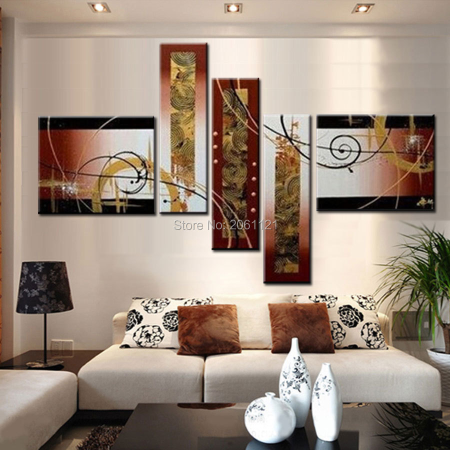 Hot Sell 5 Panel Modern Abstract Wall Painting abstract yellowish brown gold picture Home Decorative Art Picture Paint on Canvas