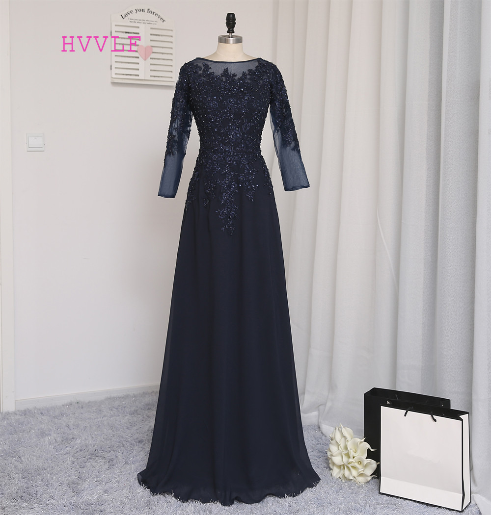 Navy Blue   Evening     Dresses   2019 A-line Long Sleeves Chiffon Appliques Beaded Long   Evening   Gown Prom   Dress   Prom Gown