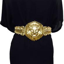 Złote paski moda damska Metal szeroki pasek kobiet luksusowy gatunku projektanta panie elastyczny pas do sukni 108 tanie tanio Faux Leather Kobiety Dla dorosłych dress belts 8 Stałe Pasy 11cm Nowość 23cm Golden carving belts for women women belt