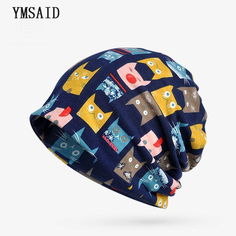 Ymsaid 2018 Autumn Hats Women's Cat Pattern   Beanie   Knitted Hat Female Velvet Thick Warm Mens   Skullies     Beanies   Bib Bonnet Femme