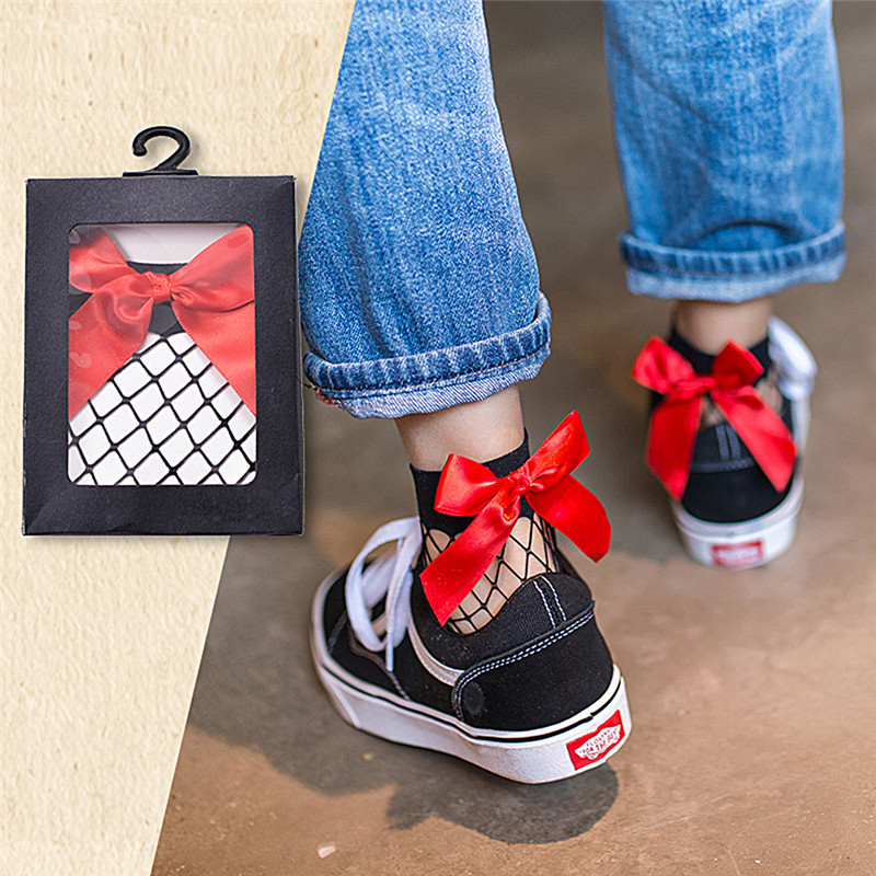 1Pair Women Ruffle Large Fishnet Ankle High Sock Bow Tie Mesh Lace Fish Net Short Sockm White/Black/Red
