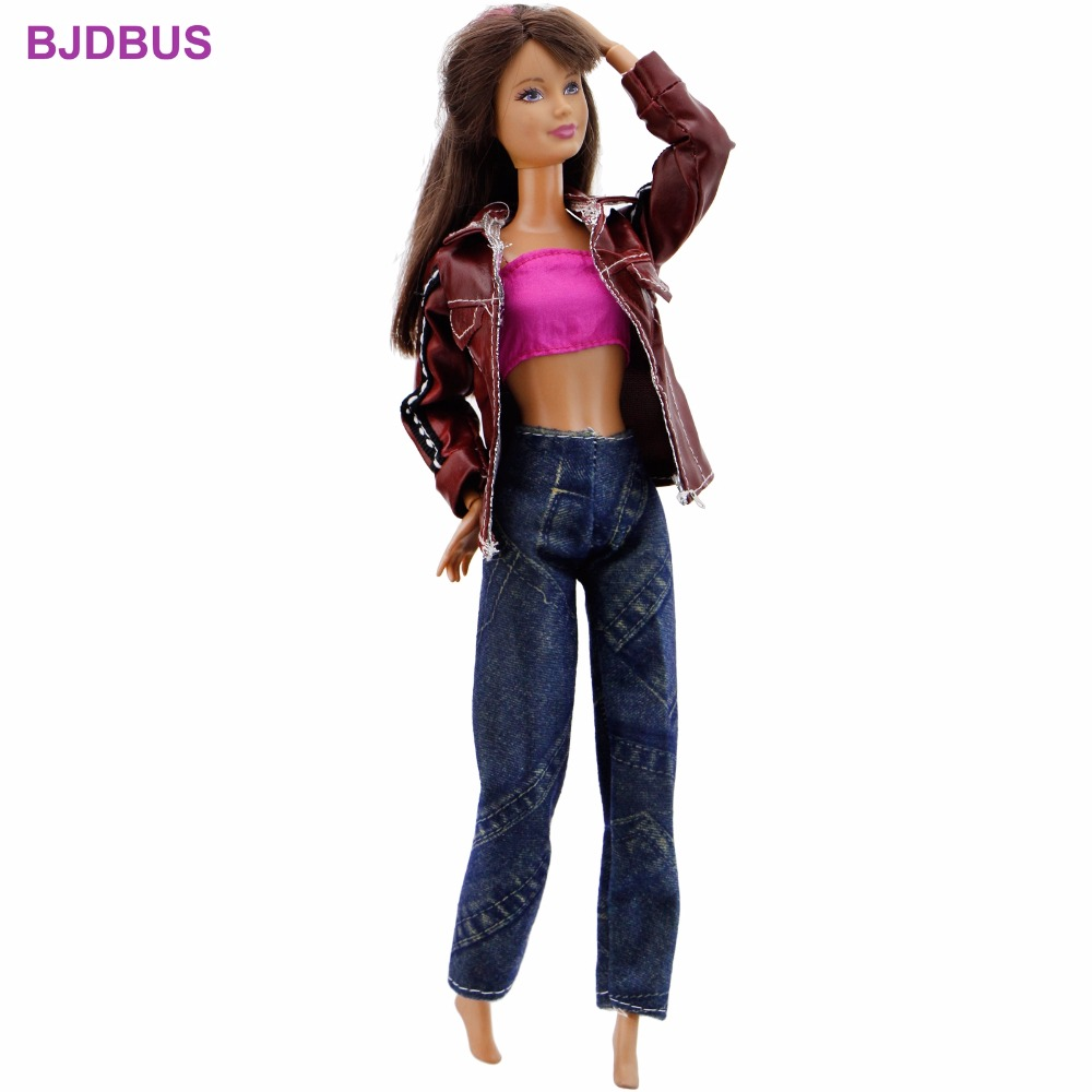 3 In 1 Fashion Outfit Daily Wear Cool Jacket Coat + Jeans Trousers Pants + Sexy Top Clothes For Barbie Doll Accessories Gift Toy