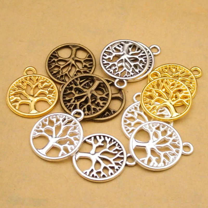 Daisies 100pcs 24mm*20mm Antique Bronze Silver Round Tree of Life Charm Pendant for Diy Necklace Jewelry Making Handmade Craft