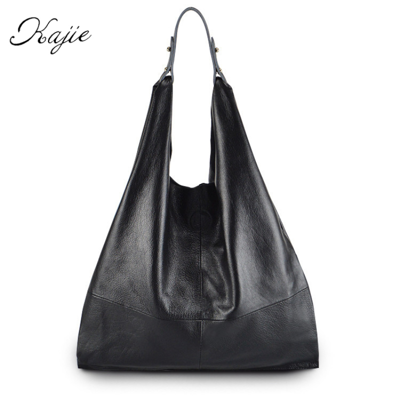 2018 Fashion Genuine Leather Women Bag Casual Hobos Shoulder Bags Soft Large Bucket Shopping Bags First Skin Cowhide Tote Bag 2017 women fashion genuine leather cowhide handbag casual tote hobos bags shoulder messenger large bag office ladies purse
