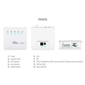 Image 5 - Enrutador Wifi desbloqueado de 300mbps, enrutador móvil 4G lte cpe con puerto LAN compatible con tarjeta SIM, enrutador inalámbrico portátil, enrutador wifi 4G