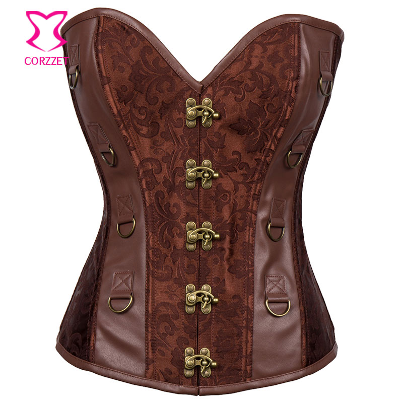 Vintage Floral Brocade and Leather Bustier Plus Size Corset 6XL Sexy Steel Boned Corsets and Bustiers Gothic Steampunk Clothing