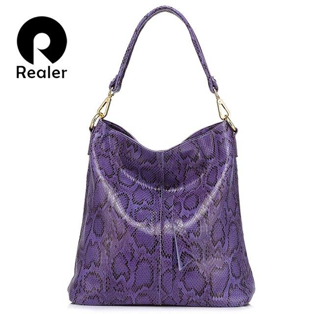 REALER brand large shoulder bag female serpentine pattern genuine leather handbag luxury designer women casual tote bags