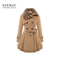 NORMOV Winter Coat Women 2017 Solid Color Thick Woolen Long Sleeves Double Breasted Cotton Belt Women