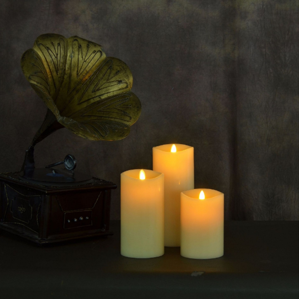 Ksperway Blowing Control Flameless Real Wax LED Candle Sets Moving Wick with Timer/ Remote