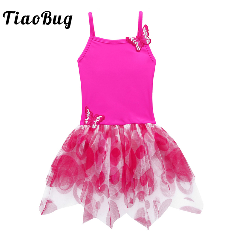 TiaoBug Kids Girls Ballet Tutu Leotard Dress Spaghetti Straps Butterfly Applique Gymnastics Leotard Children Stage Dance Costume