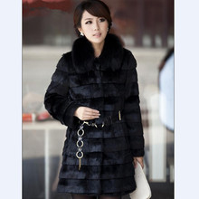 100% Pure Real Rabbit Fur Coat Thick Warm Stripe Winter Natural Genuine Fox Fur Collar Long Overcoat