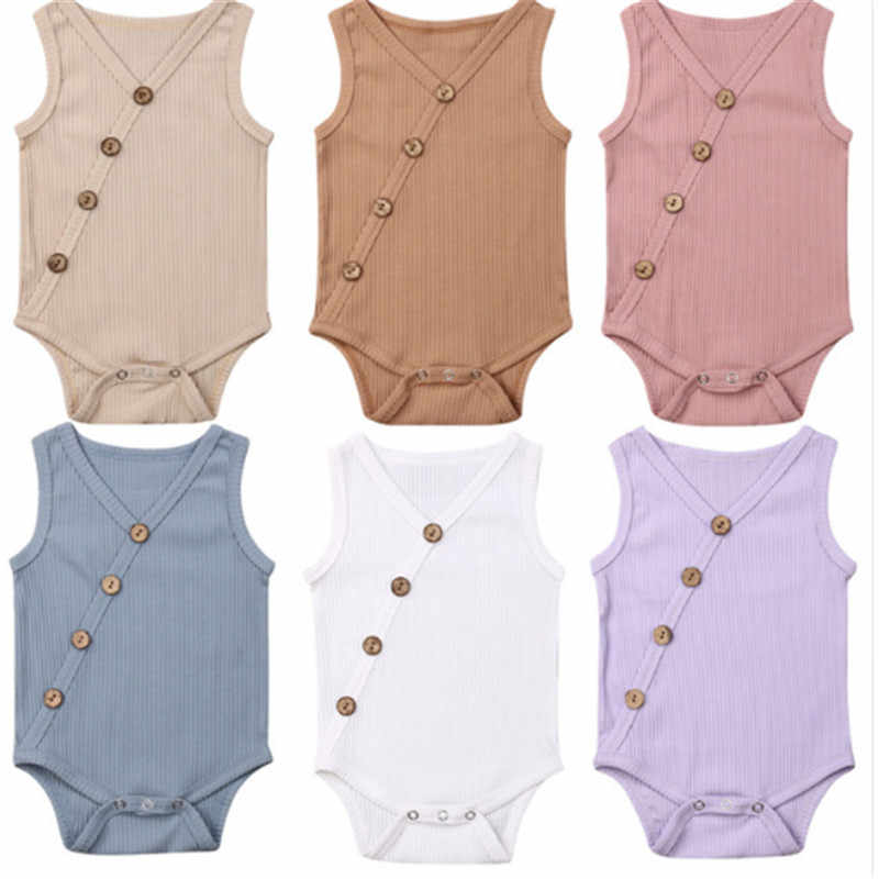 2019 Summer Newborn Toddler Boys Girls Rompers Solid Colors Jumpsuit Cotton Button V-neck Sleeveless Knitted Rompers Outfits