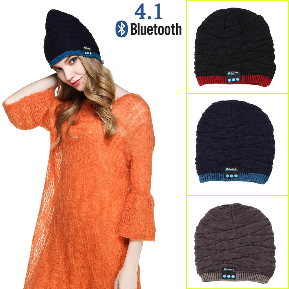 2018 Top Fashion Bluetooth Smart Beanie Winter Knit Hat Wireless Musical Headphones built-in Mic fones de ouvidodrop shopping unisex winter plicate baggy beanie knit crochet ski hat cap red