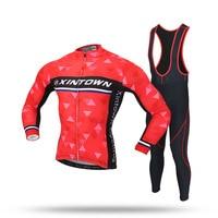 XINTOWN Cycling Jersey Sky Long Sleeve Pro Bike Bib Pants Set Ropa Ciclismo Mens Cycle Wear Bicycle Uniformes Maillot Sportwear