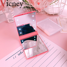 Vicney Fashion Women Makeup Mirror 8 LED Lights Lamps Cosmetic Folding Portable Compact Pocket Hand Mirror Makeup Tool Nice Gift wholesale folding desk type led cosmetic mirror portable makeup mirror with support for dressers