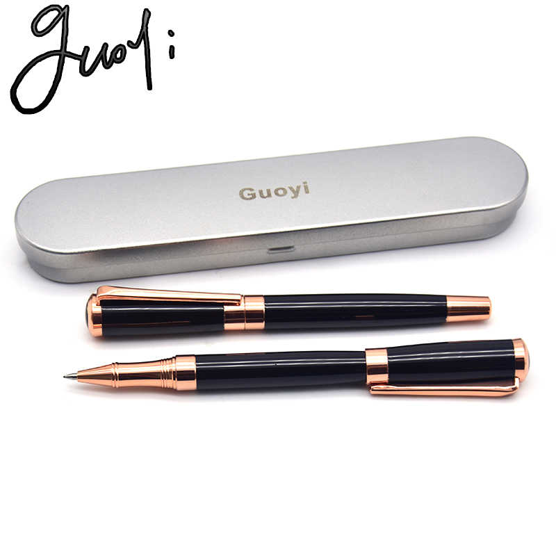 Guoyi B103 różowe złoto dwukolorowy metalowy długopis żelowy 0.5mm luksusowy prezent pióro biznes konferencja biuro przybory szkolne dla uczniów