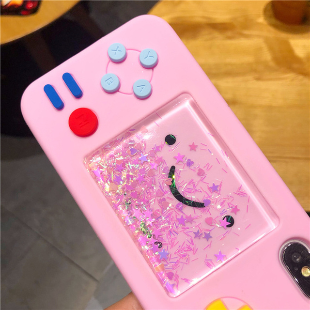Pink 3D cute smiley game machine dynamic liquid quicksand