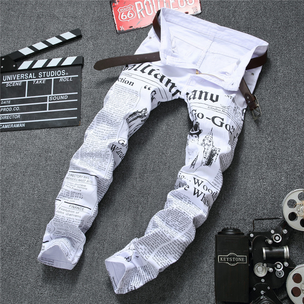 men jeans 2019 autumn Denim Pants Classic Newspaper letter printed casual slim trousers Cowboys Young Man fashion white jeans