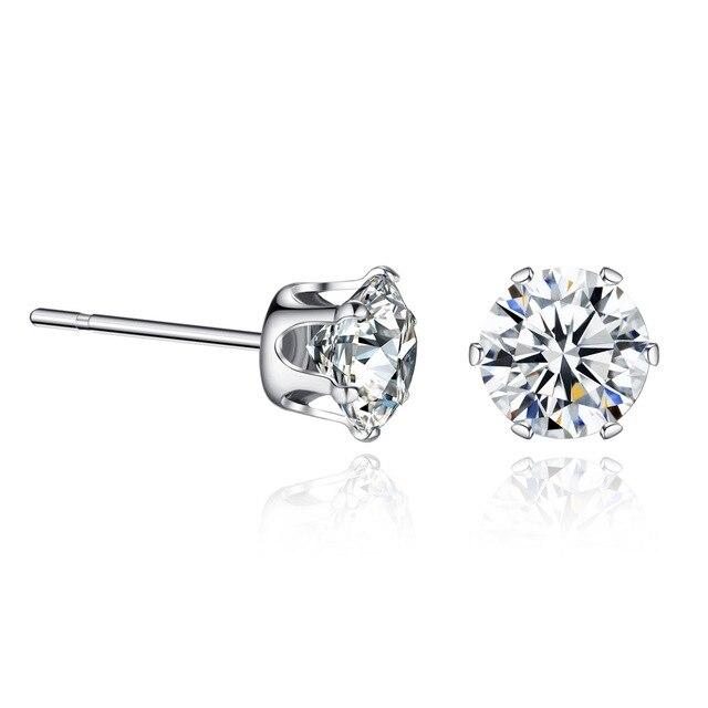 Đồ trang Sức thời trang 7.5 MM Vòng 2 Carat Cubic Zirconia Bạc Stud Earrings đối với Phụ Nữ Món Quà Tốt Nhất dropshopping