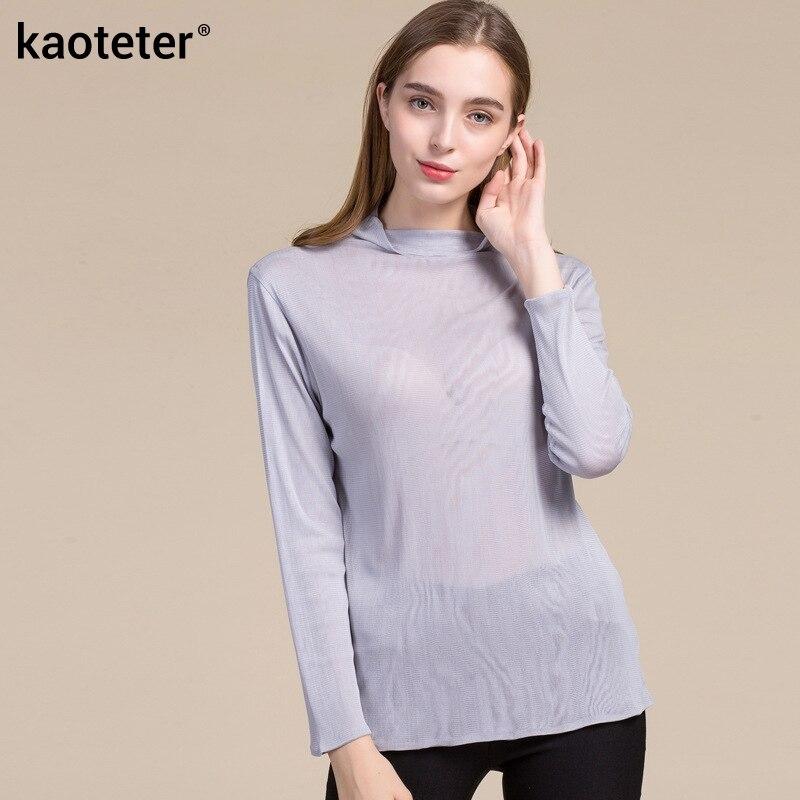 100% Pure soie femmes pleine manches T-Shirts nouveau printemps Bottoming t-shirt solide basique décontracté maille hauts