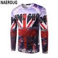 Мужская Британский Метров Флаг 3D Печать Футболка Городской Застройки Узор Рубашки Топ Hipster Уличный Стиль Прохладный Моды Красивый Т рубашка