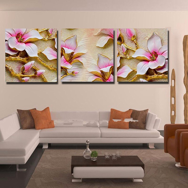 No frame 3d flowers wall painting art picture modern canvas painting wall decorative pictures home decor