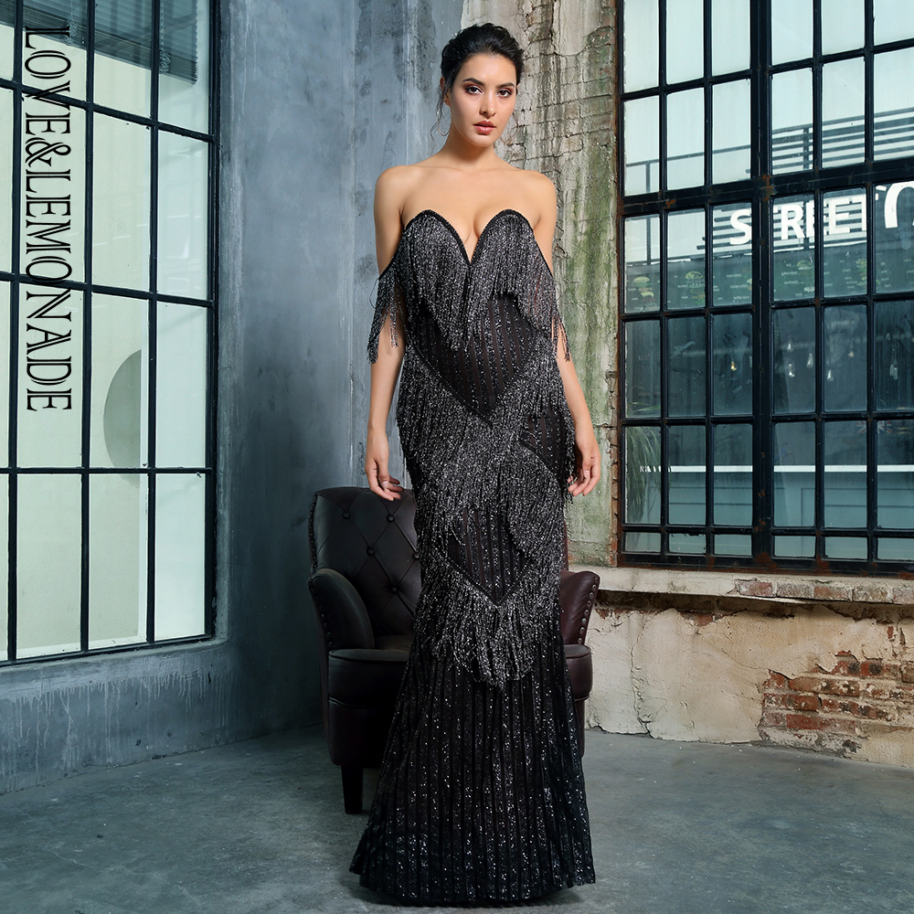 愛 & レモネードセクシーなディープ V ネック黒房装飾ストライプグリッターマキシドレス LM1376  グループ上の レディース衣服 からの ドレス の中 2