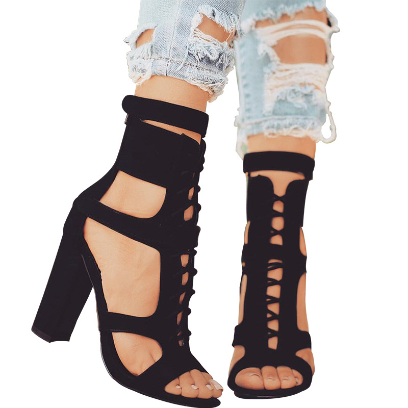 New summer women cross strappy high heels sandals gladiator sexy hollow out block heels open toe ladies shoes black big size sexy summer women fishnet high block heels ankle strappy peep toe sandals shoes