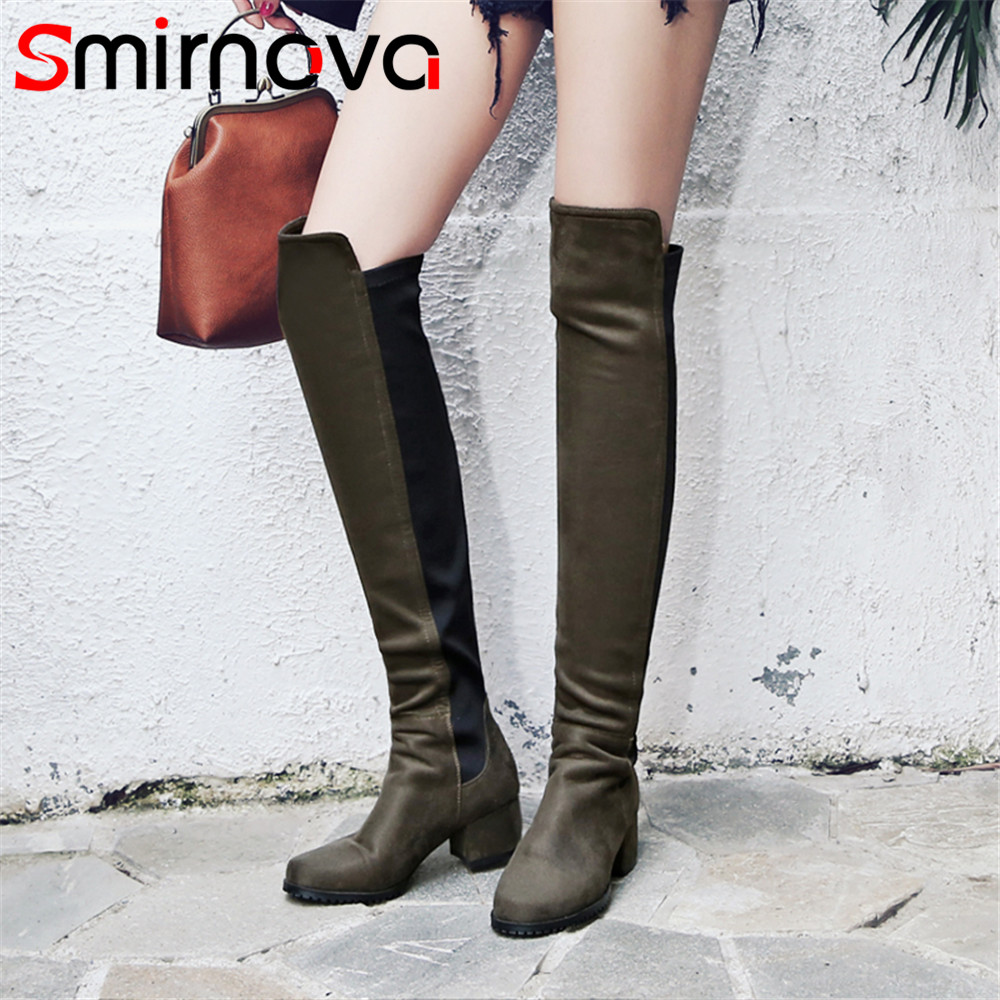 Smirnova 2018 fashion autumn winter shoes woman round toe classic ladies Elastic boots flock women over the knee boots big size