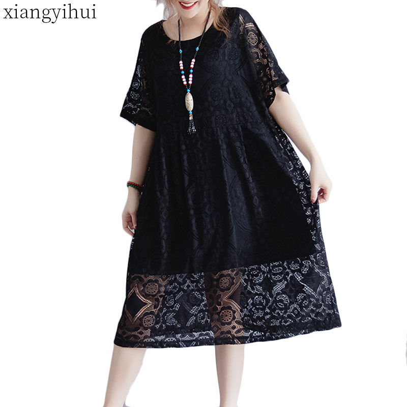 Loose Lace Black Dress Women Casual Summer Half Sleeve O neck Hollow Out Dress Natural Waist Solid Womens Clothing 2019