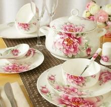 Porcelain overlooks red jingdezhen ceramic bowl plate bone china tableware 56 pieces fashion set