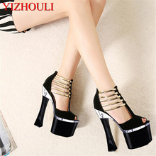 2018 cool lace sexy high-heeled shoes tassel platform open toe thick heel sandals female