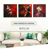 Hand painted character oil paintings Sexy Girl poster wall art The girl who plays the violin and Dancing couple .Free shipping