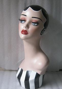 Vintage Hand Painted Manequin Manikin Mannequin Head With Makeup