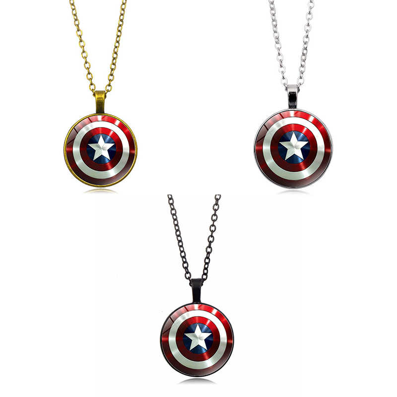 movie Captain America Shield necklace Cosplay prop Accessories Steve Rogers pendant jewelry