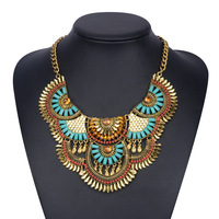 Gold Chunky Pendant Necklace For Women 2016 New Fashion Big Flower Necklace Chain Bohemia Ethnic Wholesale