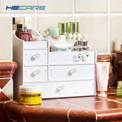HECARE Makeup Organizer Plastic Box Cosmetic Organizer for Brushes DIY Storage Box White Make Up Organizer for Cosmetics Box New