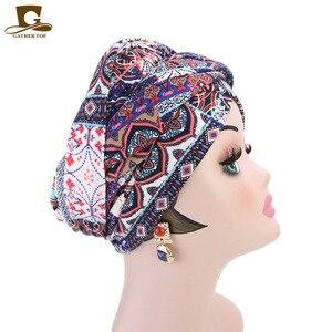 Image 3 - חדש נשים יוקרה בוהמי סגנון טורבן ניגרי טורבן חיג אב ארוך במיוחד צינור ראש לעטוף מוסלמי צעיף turbante שיער אבזרים