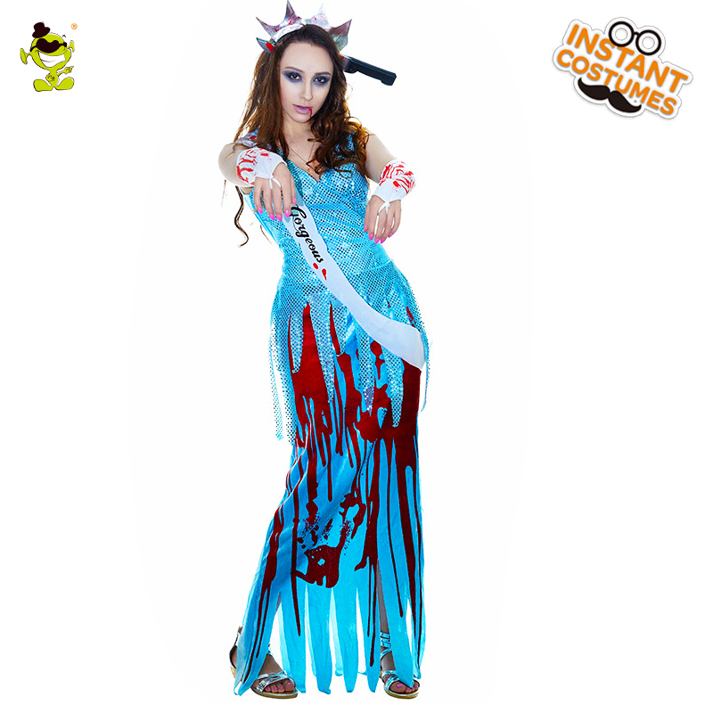 Women Bloody Death Goddess Costumes Adult Halloween Carnival Party Blue Bloodcurdling killer Cosplay Fancy Dress