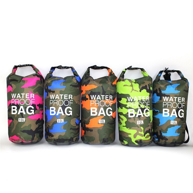 Portable Camouflage Floating PVC Swimming Storage Dry Bag Folding Waterproof Diving Dry Bag Sack For Outdoor Hiking 2L-10-30L